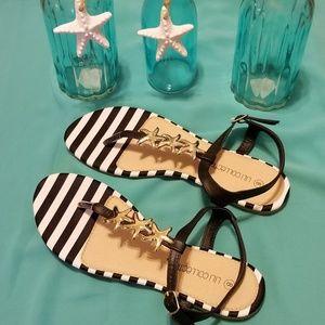 Summer Starfish Flat Sandals Size 8